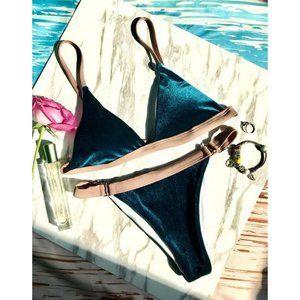 ZAFUL Buckles Velvet Bikini Set
